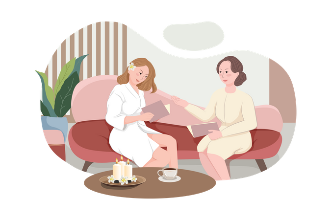 Female client siting in comfortable chair and reading Massage Menu Illustration