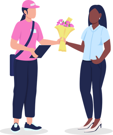 Female courier and customer with flowers Illustration