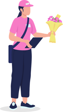 Female courier in uniform with bouquet Illustration