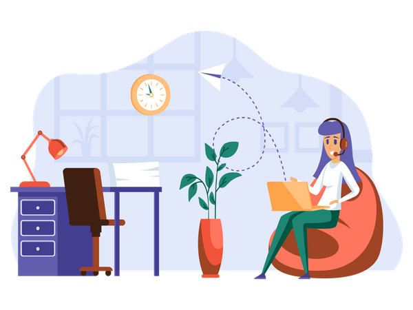 Female Customer support executive Illustration