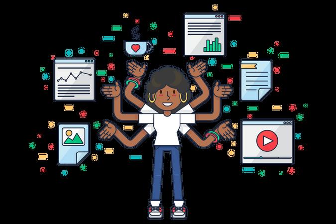 Female data specialist doing multitasking Illustration