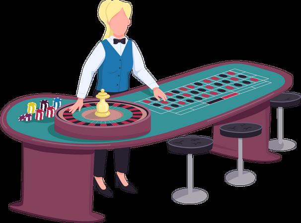 Female dealer near roulette table Illustration