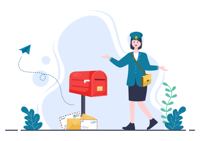 Female delivery person going to deliver mail Illustration