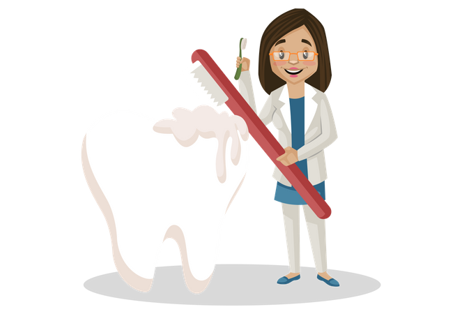 Female dentist cleaning teeth with toothbrush Illustration