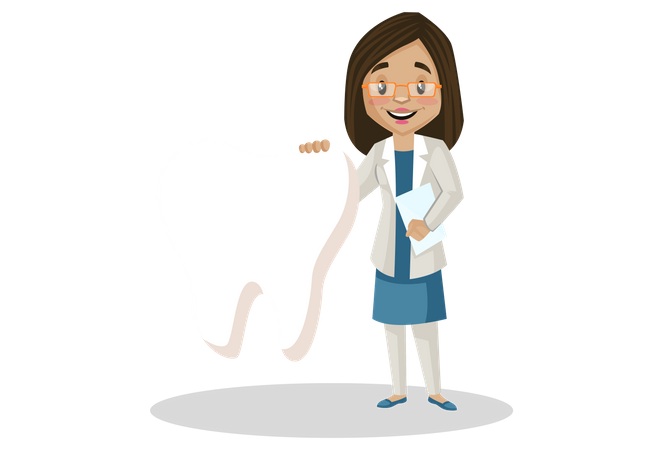 Female dentist standing with tooth Illustration