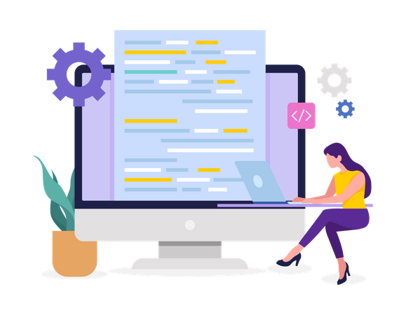 Female Developer doing programming Illustration