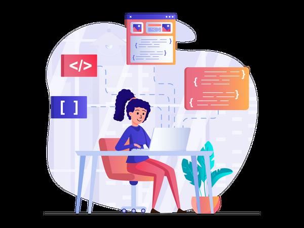 Female developer working on a project Illustration