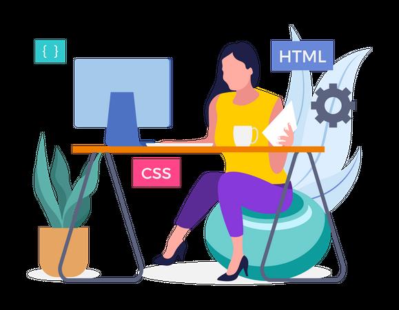 Female Developer working on project Illustration