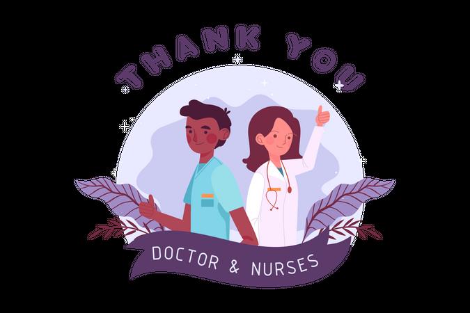 Female doctor and male nurse Illustration