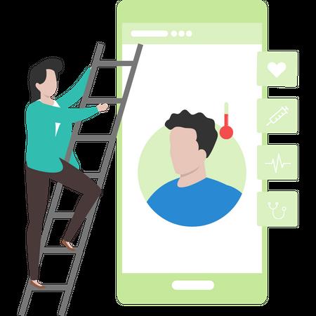 Female doctor check her patient online Illustration