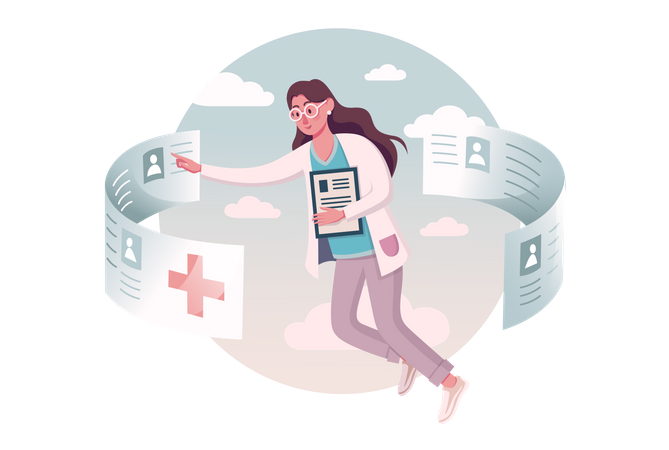 Female doctor checking patient detail Illustration