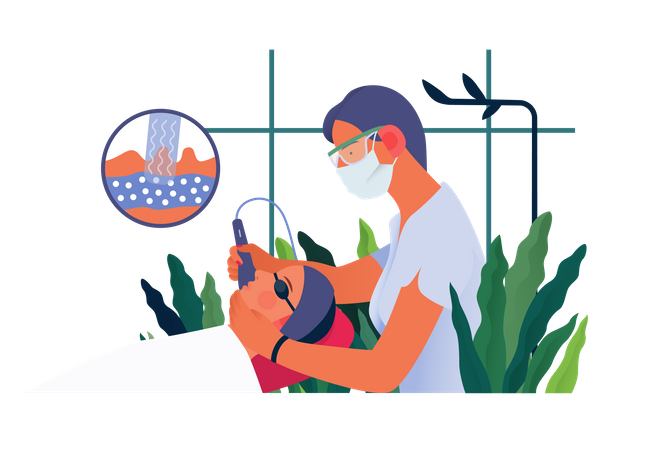 Female doctor doing Skin therapy Illustration