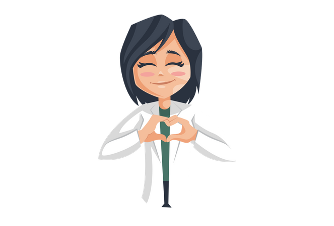 Female Doctor with Heart shaped Hand Gesture Illustration