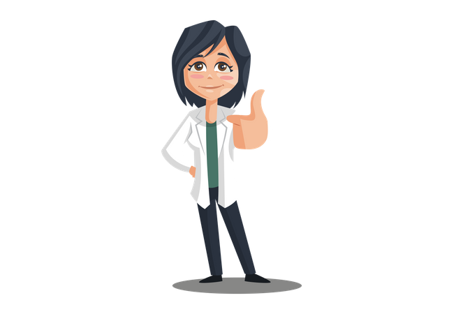 Female Doctor with thumbs up hand gesture Illustration