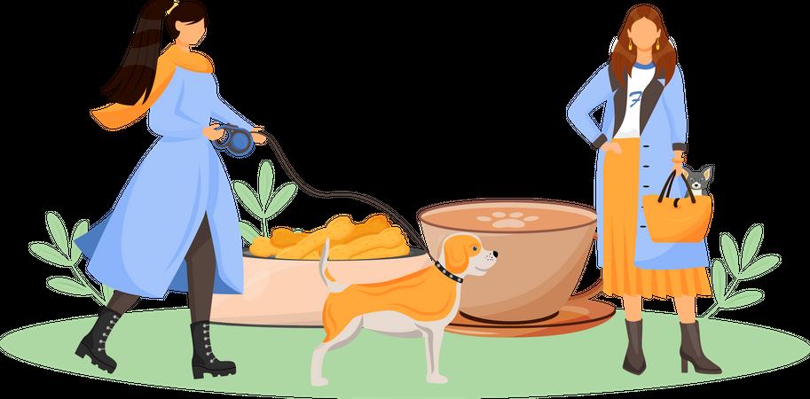 Female dog owner in cafe Illustration
