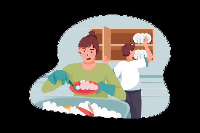 Female doing dish washing and man arranging them Illustration