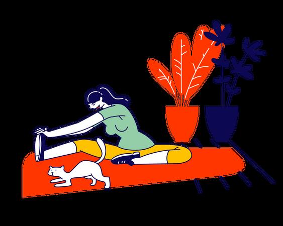 Female doing exercise Illustration