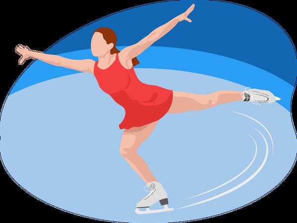 Female doing figure skating Illustration
