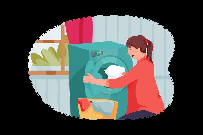 Female doing laundry Illustration