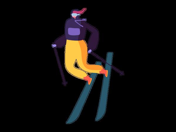 Female doing winter activity Illustration