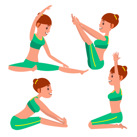 Female Doing Yoga With Different Poses Illustration