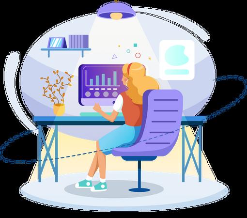 Female employee analyzing data Illustration