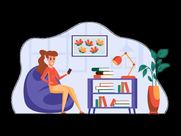 Female employee chatting on phone Illustration