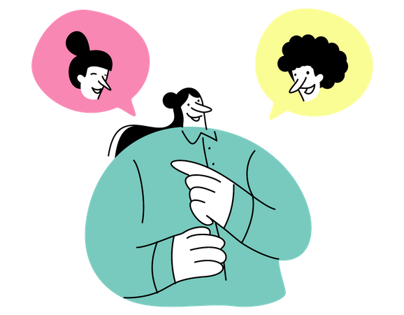 Female employee chatting with colleagues Illustration