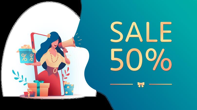 Female employee doing advertisement of sale Illustration