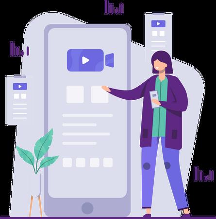 Female employee doing digital marketing Illustration