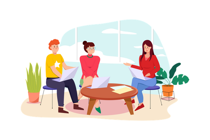 Female employee doing discussion Illustration