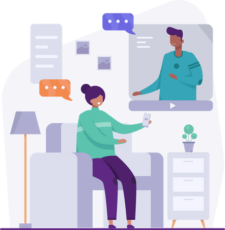 Female employee giving presentation Illustration