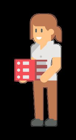 Female employee holding files Illustration