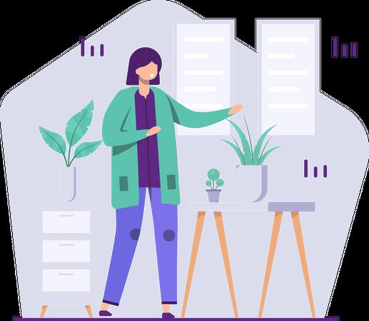 Female employee preparing presentation data Illustration