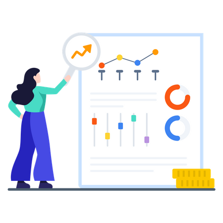 Female employee preparing profit and loss graph Illustration
