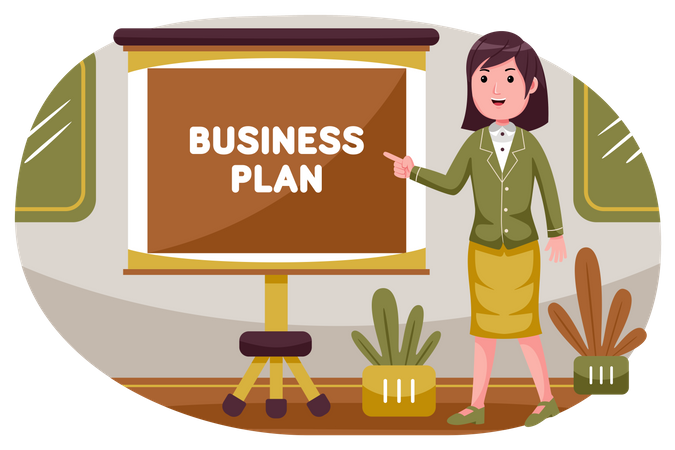 Female employee presenting business plan Illustration