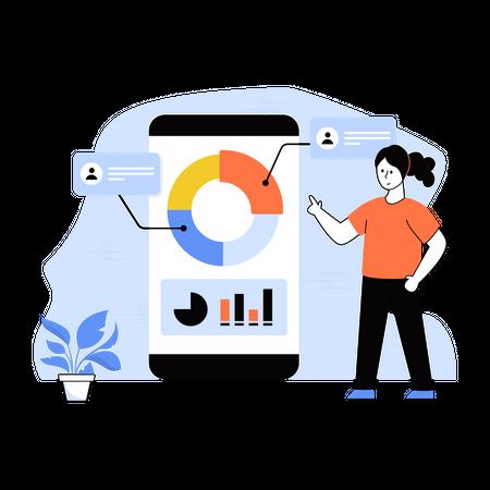 Female employee presenting statistics using smartphone Illustration