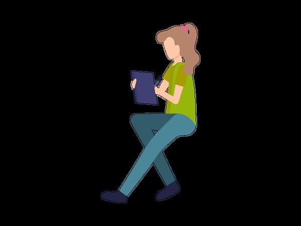 Female employee sitting and writing Illustration