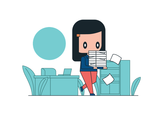 Female employee with workload Illustration