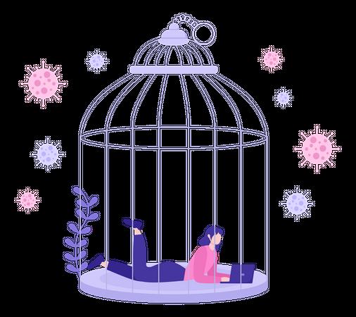 Female Employee Working In Lockdown Illustration