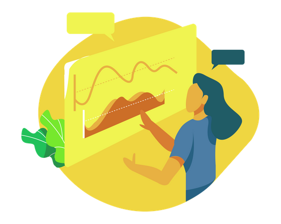 Female employee working on business report Illustration