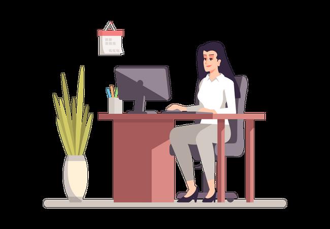 Female Employee Working On Computer Illustration