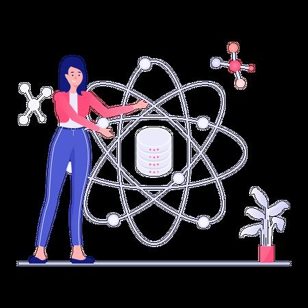 Female employee working on data security Illustration