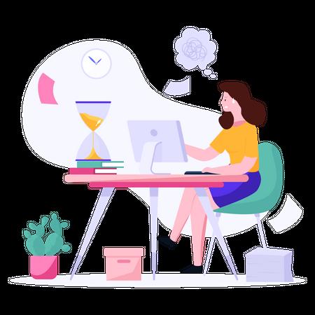 Female employee working on deadline project Illustration