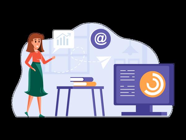 Female employee working on email marketing Illustration