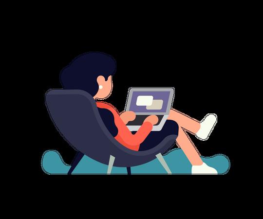 Female employee working on laptop Illustration