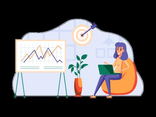 Female employee working on Marketing strategy Illustration