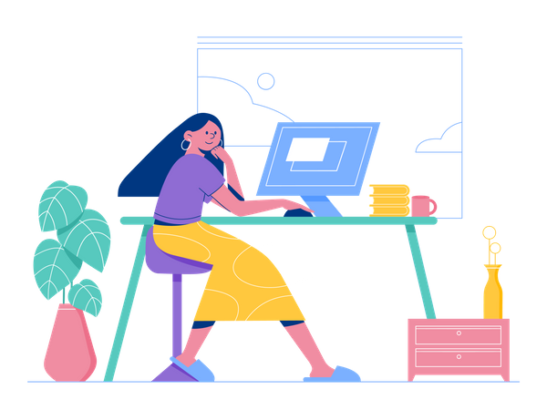 Female employee working on Web Design Illustration