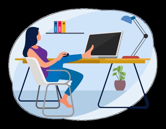 Female employee working remotely Illustration