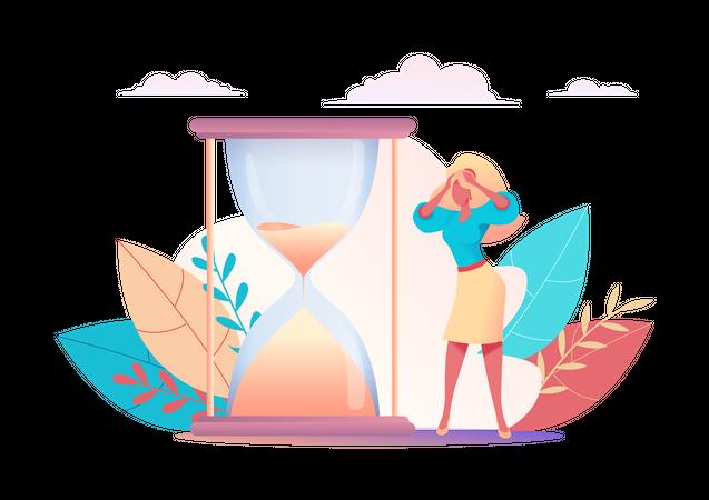 Female employee working with deadline Illustration